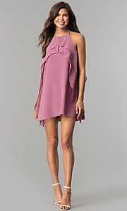 Image of short chiffon wedding-guest party dress with ruffle. Style: BC-VDW61M04 Detail Image 1