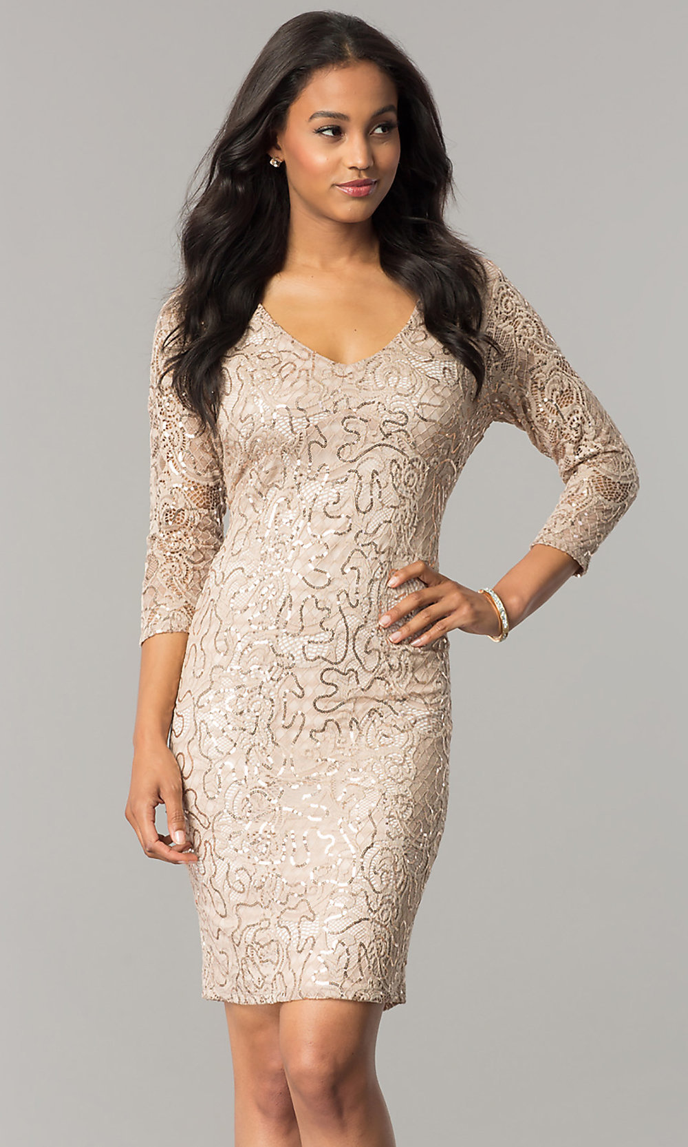 Taupe Nude Sleeved Short Sequin-Lace Party Dress