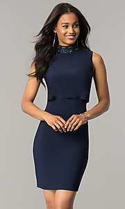 Image of navy blue short popover wedding-guest party dress. Style: JU-MA-263606 Front Image