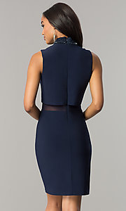 Image of navy blue short popover wedding-guest party dress. Style: JU-MA-263606 Back Image