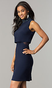 Image of navy blue short popover wedding-guest party dress. Style: JU-MA-263606 Detail Image 1