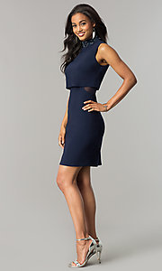 Image of navy blue short popover wedding-guest party dress. Style: JU-MA-263606 Detail Image 3