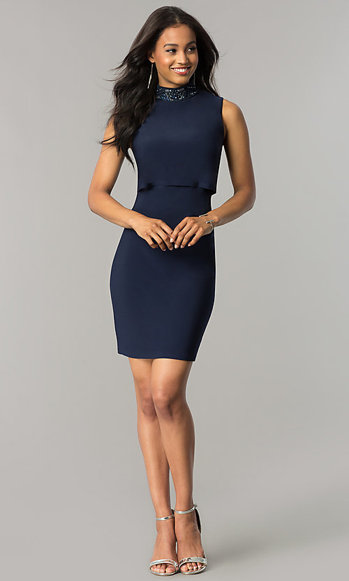 Image of navy blue short popover wedding-guest party dress. Style: JU-MA-263606 Detail Image 2