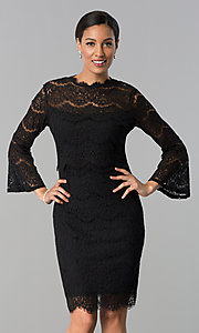 Image of short black lace party dress with long sleeves. Style: JU-MA-263678 Front Image