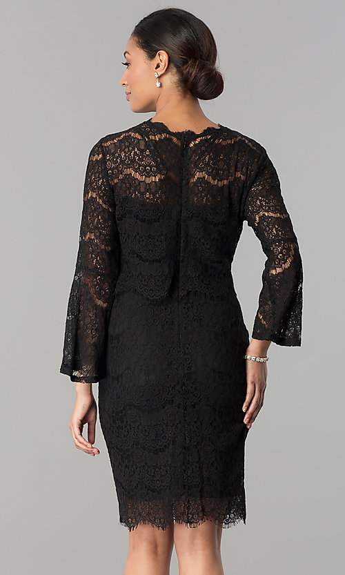 Image of short black lace party dress with long sleeves. Style: JU-MA-263678 Back Image