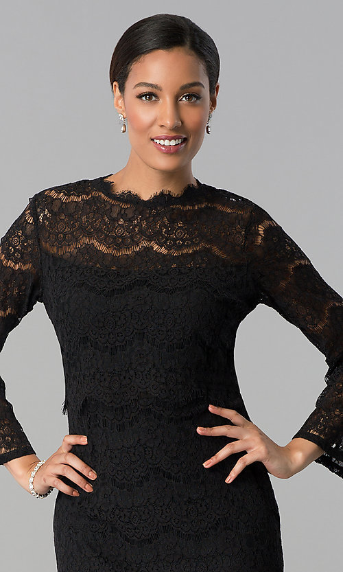 Image of short black lace party dress with long sleeves. Style: JU-MA-263678 Detail Image 1