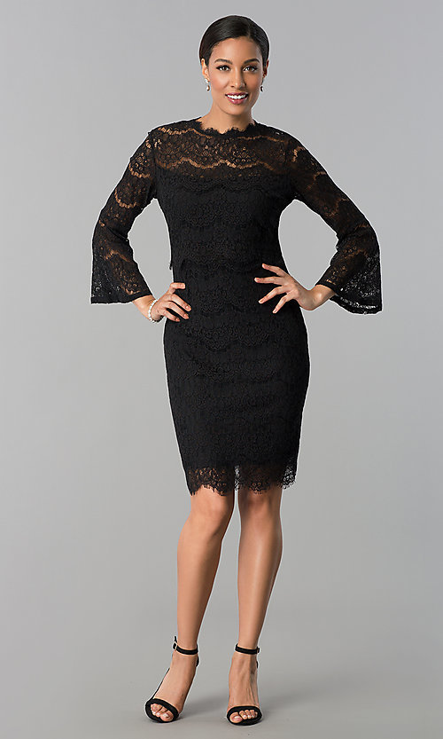Image of short black lace party dress with long sleeves. Style: JU-MA-263678 Detail Image 2