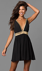 Image of short black party dress with gold trim and cut outs. Style: CQ-7117A Front Image