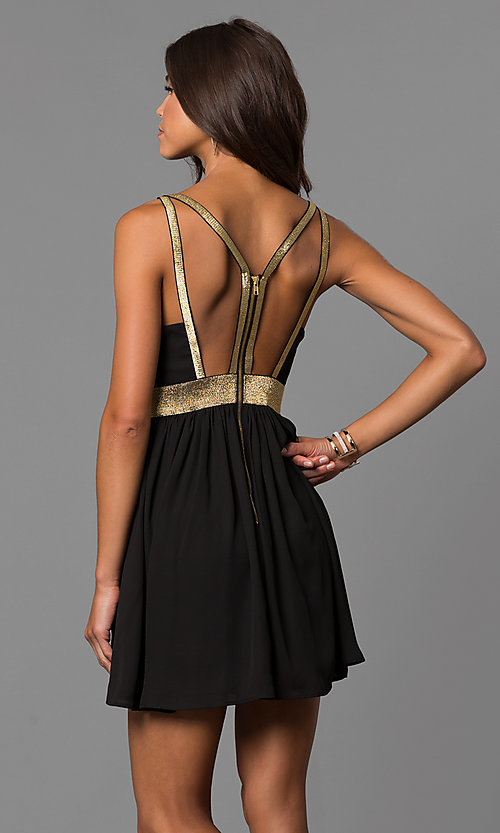 Image of short black party dress with gold trim and cut outs. Style: CQ-7117A Back Image