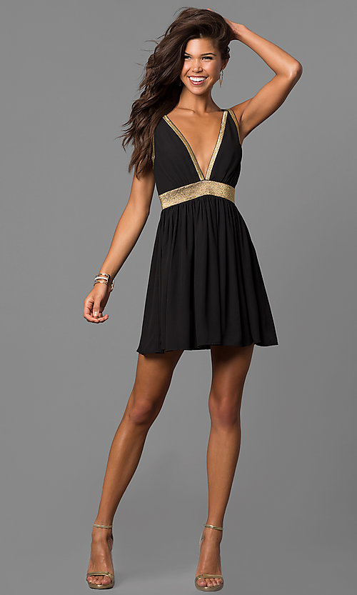 Image of short black party dress with gold trim and cut outs. Style: CQ-7117A Detail Image 1
