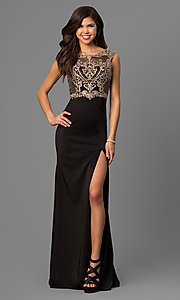 Image of long black satin prom dress with embroidered bodice.  Style: DQ-9845 Front Image