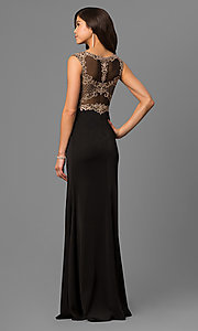 Image of long black satin prom dress with embroidered bodice.  Style: DQ-9845 Back Image