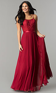 Image of long formal evening dress with embroidered bodice.  Style: DQ-9914 Detail Image 1