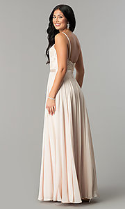 Image of long formal evening dress with embroidered bodice.  Style: DQ-9914 Back Image