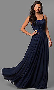 Image of long formal evening dress with embroidered bodice.  Style: DQ-9914 Detail Image 4