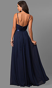 Image of long formal evening dress with embroidered bodice.  Style: DQ-9914 Detail Image 5
