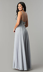 Image of long formal evening dress with embroidered bodice.  Style: DQ-9914 Detail Image 7