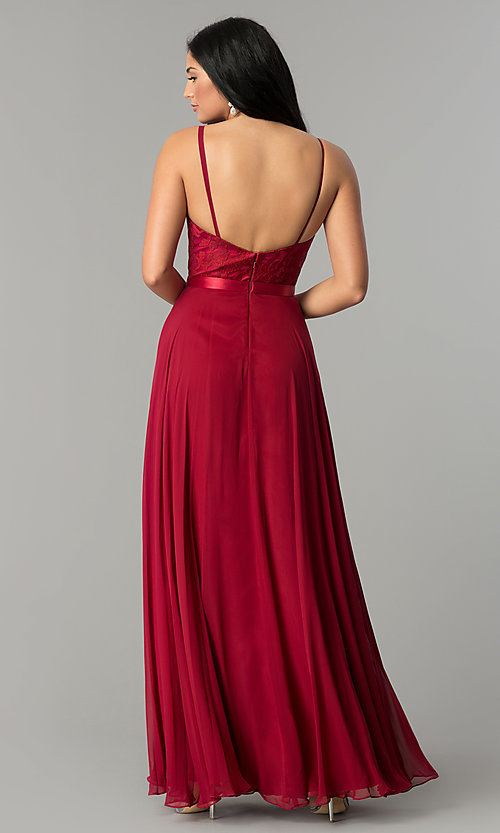 Image of long formal evening dress with embroidered bodice.  Style: DQ-9914 Detail Image 2