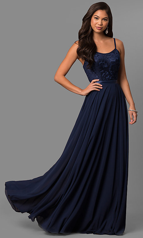 Image of long formal evening dress with embroidered bodice.  Style: DQ-9914 Front Image