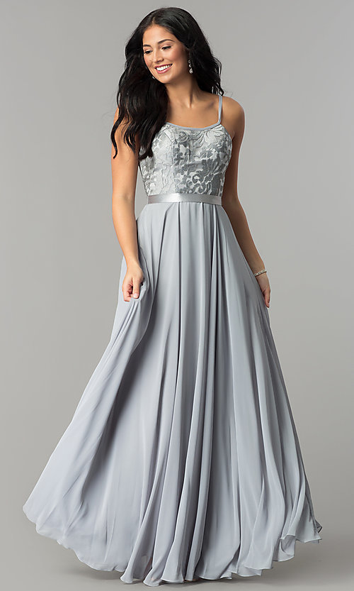 Image of long formal evening dress with embroidered bodice.  Style: DQ-9914 Detail Image 6