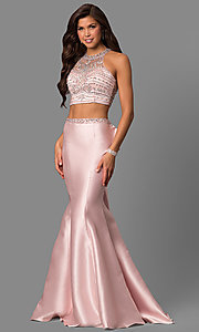 Image of beaded-bodice two-piece long prom dress with ruffle. Style: DQ-9916 Front Image