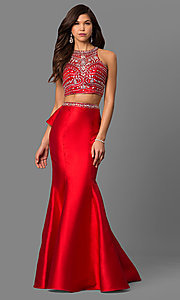 Image of beaded-bodice two-piece long prom dress with ruffle. Style: DQ-9916 Detail Image 1