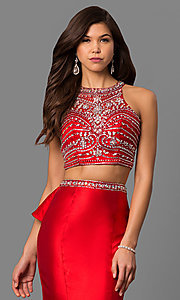Image of beaded-bodice two-piece long prom dress with ruffle. Style: DQ-9916 Detail Image 2