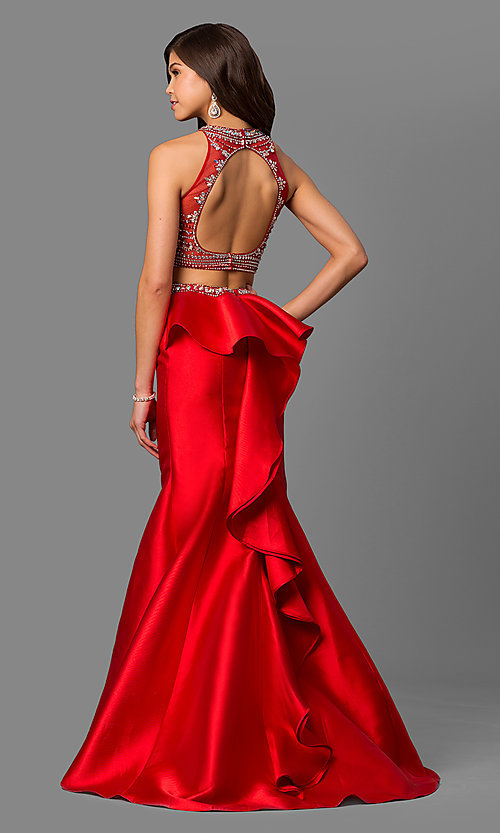 Image of beaded-bodice two-piece long prom dress with ruffle. Style: DQ-9916 Back Image