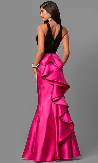 Ruffled-Bustle Two-Piece Prom Dress in Pink