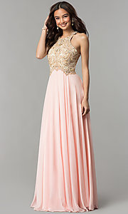 Image of beaded-bodice long formal prom dress with sheer back.  Style: DQ-9776 Detail Image 1