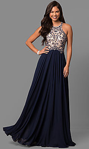 Image of beaded-bodice long formal prom dress with sheer back.  Style: DQ-9776 Front Image