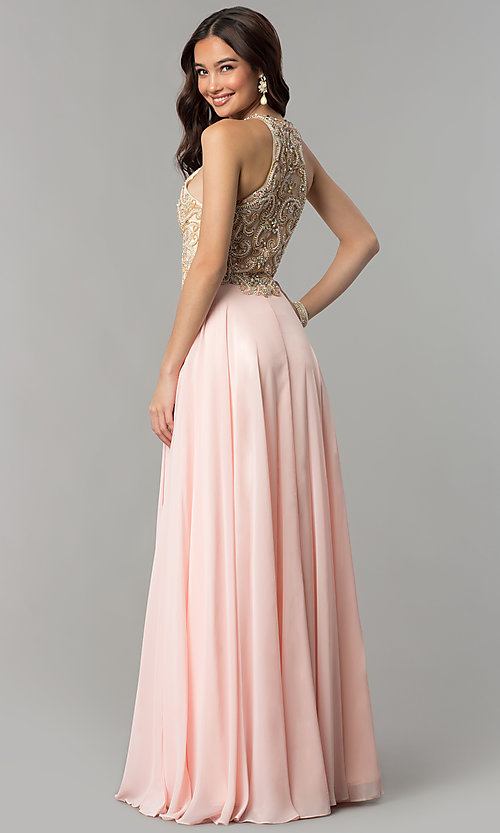 Image of beaded-bodice long formal prom dress with sheer back.  Style: DQ-9776 Back Image