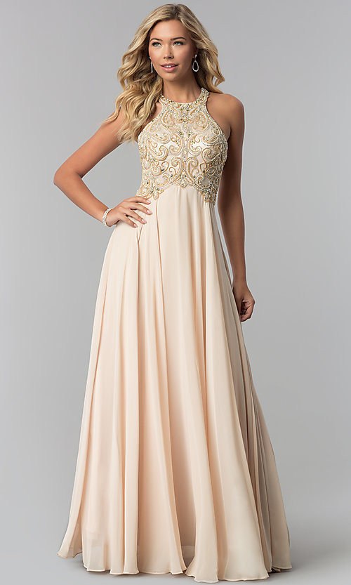 Image of beaded-bodice long formal prom dress with sheer back.  Style: DQ-9776 Detail Image 3