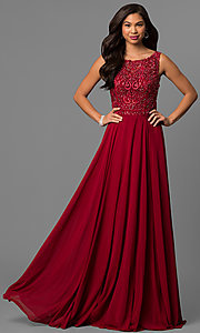 Image of long prom dress with rhinestone-beaded lace bodice. Style: DQ-9847 Front Image
