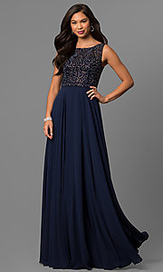 Image of long prom dress with rhinestone-beaded lace bodice. Style: DQ-9847 Detail Image 1
