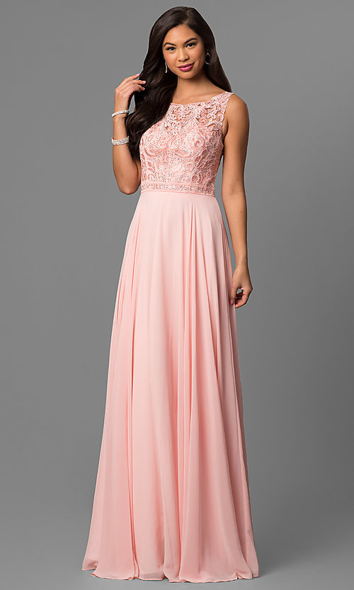 Image of long prom dress with rhinestone-beaded lace bodice. Style: DQ-9847 Detail Image 2