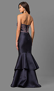 Image of beaded-bodice strapless long formal prom dress. Style: DQ-9917 Back Image