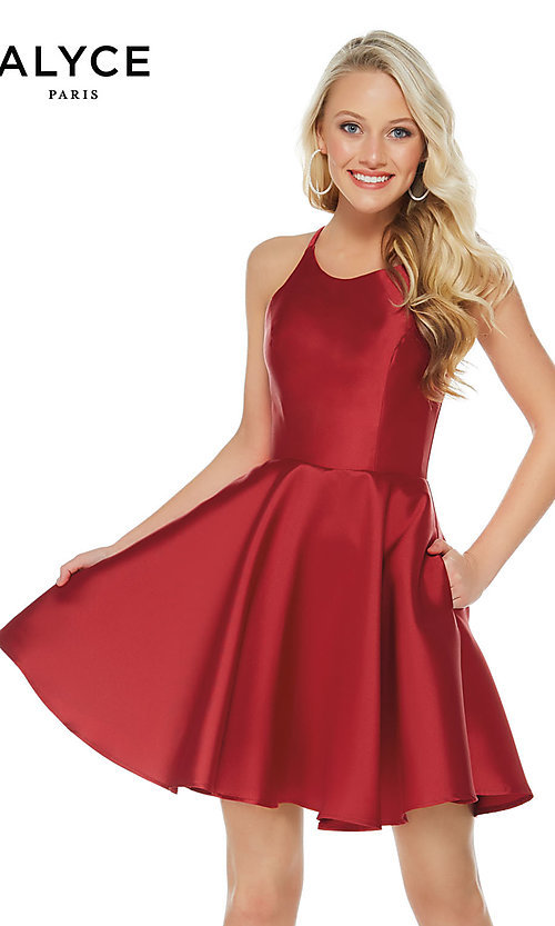 Image of short Alyce designer fit-and-flare party dress. Style: AL-3703 Detail Image 1