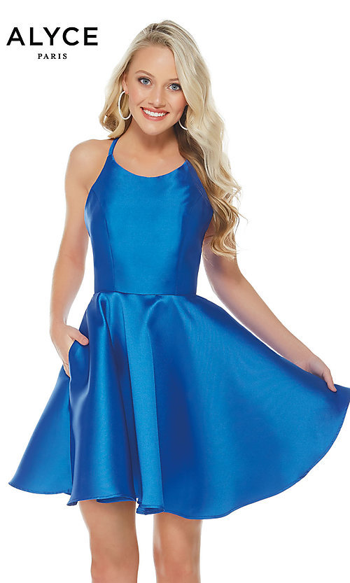Image of short Alyce designer fit-and-flare party dress. Style: AL-3703 Detail Image 6
