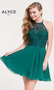 Image of embellished-bodice short chiffon homecoming dress. Style: AL-3717 Front Image