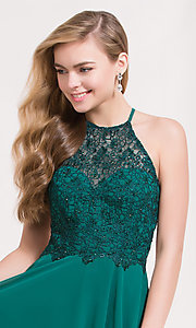 Image of embellished-bodice short chiffon homecoming dress. Style: AL-3717 Detail Image 1