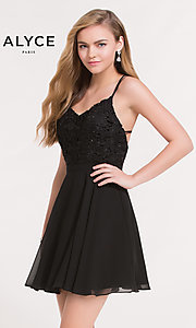 Image of strappy black open-back short party dress by Alyce. Style: AL-3720 Front Image