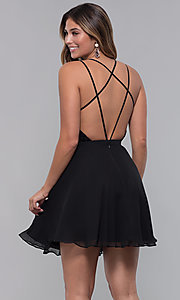 Image of strappy open-back short chiffon party dress by Alyce. Style: AL-3720 Detail Image 5