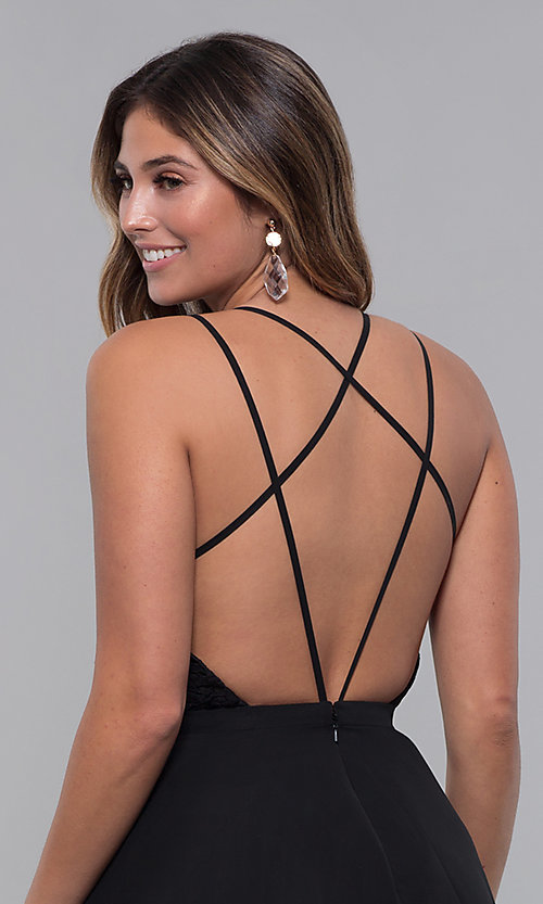 Image of strappy open-back short chiffon party dress by Alyce. Style: AL-3720 Detail Image 7