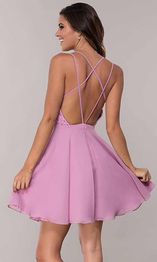 Image of strappy open-back short chiffon party dress by Alyce. Style: AL-3720 Back Image