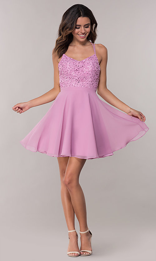 Image of strappy open-back short chiffon party dress by Alyce. Style: AL-3720 Detail Image 3