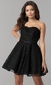 Image of lace strapless short a-line homecoming party dress. Style: AL-3741 Detail Image 3