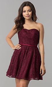 Image of lace strapless short a-line homecoming party dress. Style: AL-3741 Detail Image 2
