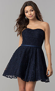 Image of lace strapless short a-line homecoming party dress. Style: AL-3741 Front Image