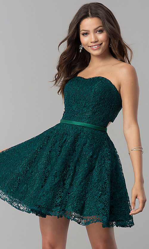 Image of lace strapless short a-line homecoming party dress. Style: AL-3741 Detail Image 1